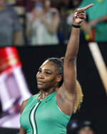 United States' Serena Williams celebrates after defeating Canada's Eugenie Bouchard in their second round match at the Australian Open tennis championships in Melbourne, Australia, Thursday, Jan. 17, 2019. (AP Photo/Aaron Favila)