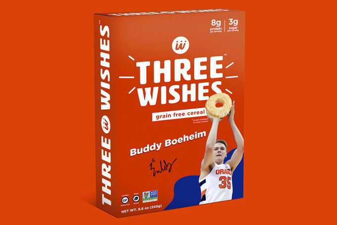 This image provided by Three Wishes Foods, shows Syracuse's Buddy Boeheim cereal box design for Three Wishes Foods cereal. A new era in college sports got underway at the beginning of July, and with players now allowed to make money on their celebrity it's anybody's guess where this is all headed. Boeheim, the sharp-shooting son of Syracuse men's basketball coach Jim Boeheim, inked a deal that will put his likeness on the front of a cereal box with him shooting, a morsel of Three Wishes cereal in his right palm. (Three Wishes Foods via AP)