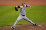 New York Yankees relief pitcher Lucas Luetge throws a pitch to the Baltimore Orioles during the sixth inning of a baseball game, Sunday, May 16, 2021, in Baltimore. (AP Photo/Julio Cortez)