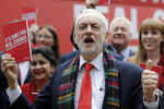 Jeremy Corbyn, Leader of Britain's opposition Labour Party poses shortly after arriving at the launch of Labour's General Election manifesto, at Birmingham City University, England, Thursday, Nov. 21, 2019. Britain goes to the polls on Dec. 12. (AP Photo/Kirsty Wigglesworth)