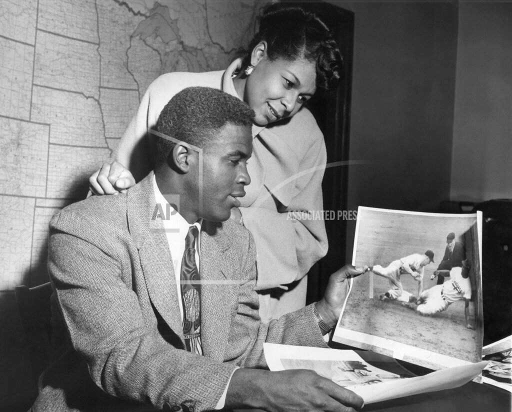 Watchf AP A FILE NY USA APHS372596 Jackie Robinson and his wife