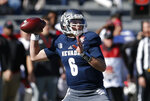 Nevada quarterback Ty Gangi (6) throws down field in the first half of the Arizona Bowl NCAA college football game against Arkansas State, Saturday, Dec. 29, 2018, in Tucson, Ariz. (AP Photo/Rick Scuteri)