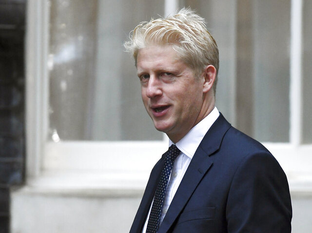 FILE - In this Wednesday, Sept. 4, 2019 file photo, Britain's Conservative Party lawmaker Jo Johnson arrives at Downing Street in London. British Prime Minister Boris Johnson named 36 new members of to Parliament's unelected House of Lords on Friday July 31, 2020, lawmaker Jo Johnson was on the list. (AP Photo/Alberto Pezzali, File)