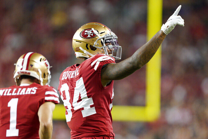 San Francisco 49ers wide receiver Kendrick Bourne (84) celebrates after scoring against the Los Angeles Chargers during the first half of an NFL preseason football game in Santa Clara, Calif., Thursday, Aug. 29, 2019. (AP Photo/Tony Avelar)