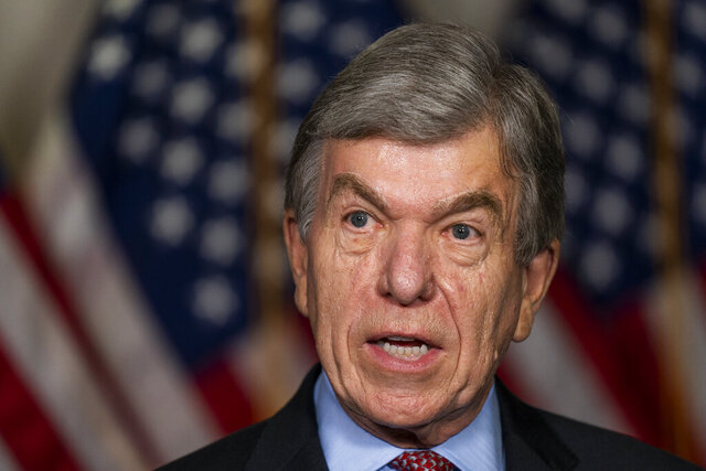 Sen. Roy Blunt, R-Mo., speaks to reporters as he arrives for the Senate Republican policy meeting on Capitol Hill, Thursday, Sept. 17, 2020, in Washington. (AP Photo/Manuel Balce Ceneta)
