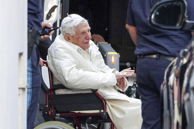 "Emeritus Pope Benedict XVI is pushed in to a bus in a wheelchair, in Regensburg, Germany, Thursday, June 18, 2020.  The Vatican says Emeritus Pope Benedict is in Germany to be with his brother, who is in poor health. Benedict on Thursday arrived in Regensburg, Germany, where his brother, the Rev. Georg Ratzinger, lives, and where ""he will spend the necessary time,"" the Vatican said in a statement. (Daniel Karmann/dpa via AP)"