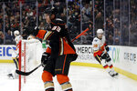 Anaheim Ducks' Jakob Silfverberg (33) celebrates after scoring against the Calgary Flames during the second period of an NHL hockey game, Sunday, Oct. 20, 2019, in Anaheim, Calif. (AP Photo/Marcio Jose Sanchez)