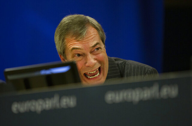 Brexit Party leader Nigel Farage speaks during a media conference at the European Parliament in Brussels, Wednesday, Jan. 29, 2020. The U.K. is due to leave the EU on Friday, Jan. 31, 2020, the first nation in the bloc to do so. It then enters an 11-month transition period in which Britain will continue to follow the bloc's rules while the two sides work out new deals on trade, security and other areas. (AP Photo/Virginia Mayo)