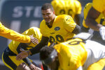 Pittsburgh Steelers newly acquired safety Minkah Fitzpatrick goes through an agility drill with new teammates as he warms up during an NFL football practice, Wednesday, Sept. 18, 2019, in Pittsburgh. (AP Photo/Keith Srakocic)
