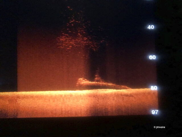An image on a sonar screen shows a silhouette shape of a submarine lying on the ocean floor somewhere in the Strait of Malacca on Oct. 21, 2019. Divers have found what they believe is the wreck of a U.S. Navy submarine lost 77 years ago in Southeast Asia, providing a coda to a stirring but little-known tale from World War II. (Jean Luc Rivoire via AP)