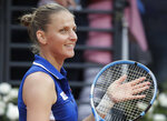 Karolina Pliskova of the Czech Repubblic reacts as she won her match with Maria Sakkari of Greece during a semifinal match at the Italian Open tennis tournament, in Rome, Saturday, May 18, 2019. (AP Photo/Andrew Medichini)