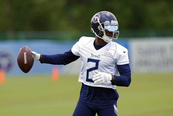 Tennessee Titans wide receiver Julio Jones runs a drill during an NFL football minicamp Wednesday, June 16, 2021, in Nashville, Tenn. (AP Photo/Mark Humphrey, Pool)