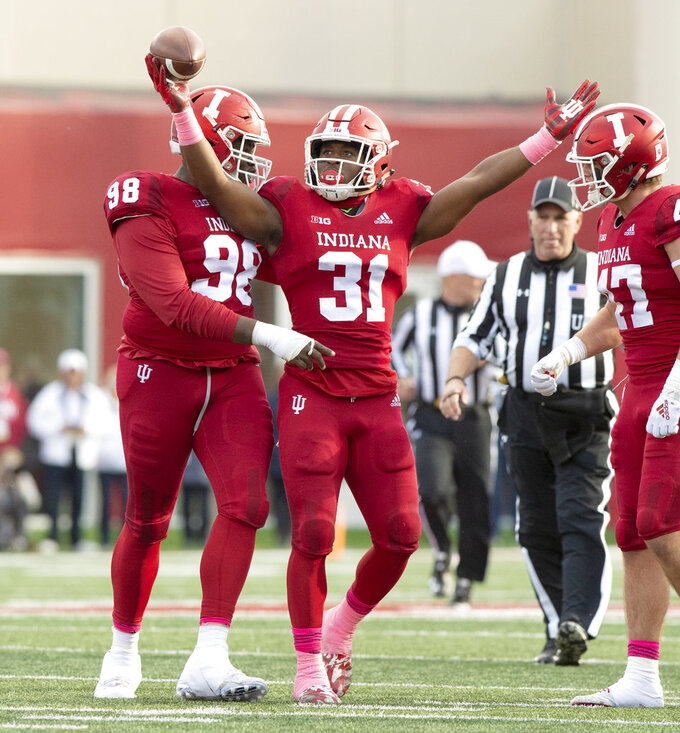 Indiana defensive back Bryant Fitzgerald (31) reacts after getting an interception during the first half of an NCAA college football game against Penn State Saturday, Oct. 20, 2018, in Bloomington, Ind. (AP Photo/Doug McSchooler)