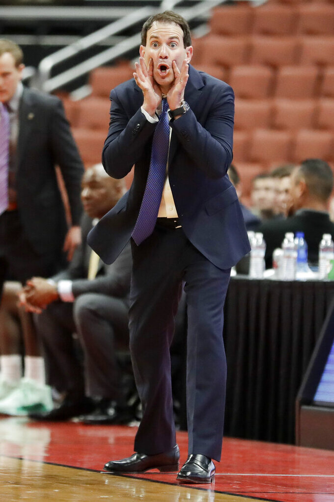 UC Santa Barbara head coach Mark Gottfried yells to his team during the second half of an NCAA college basketball game against Cal State Northridge at the Big West men's tournament in Anaheim, Calif., Thursday, March 14, 2019. (AP Photo/Chris Carlson)