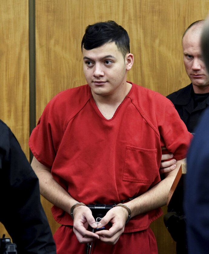 Wilbur Martinez-Guzman, from El Salvador, appears in Washoe District Court room in Reno, Nev., on Monday, May 20, 2019. Martinez-Guzman faces charges for the murders of four people in Northern Nevada. (Andy Barron/The Reno Gazette-Journal via AP)