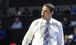 LSU  coach Will Wade shouts during the first half of the team's NCAA college basketball game against Florida in Gainesville, Fla., Wednesday, March 6, 2019. (AP Photo/Gary McCullough)