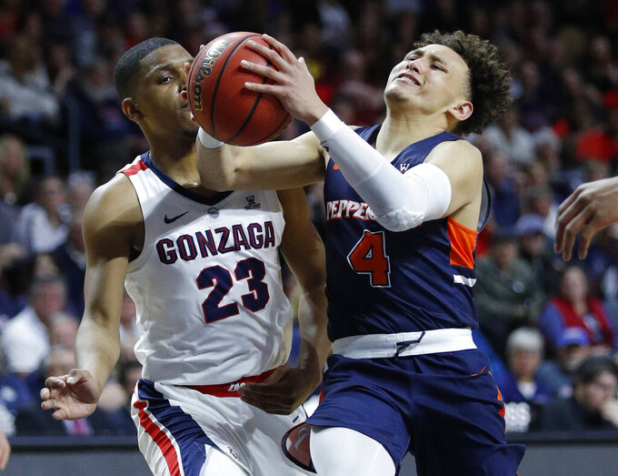 Pepperdine's Colbey Ross (4) drives around Gonzaga's Zach Norvell Jr. during the second half of an NCAA semifinal college basketball game at the West Coast Conference tournament, Monday, March 11, 2019, in Las Vegas. (AP Photo/John Locher)