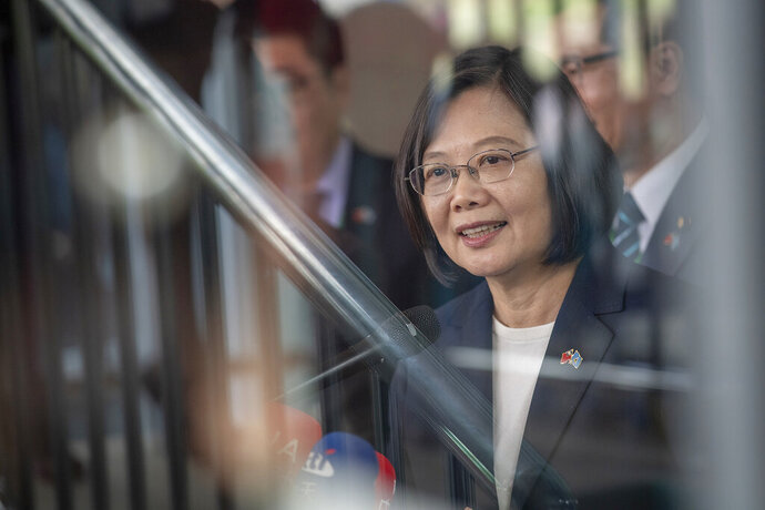 In this photo released by the Taiwan Presidential Office, Taiwanese President Tsai Ing-wen arrives in St. Lucia on Thursday, July 18, 2019. Tsai said she would follow