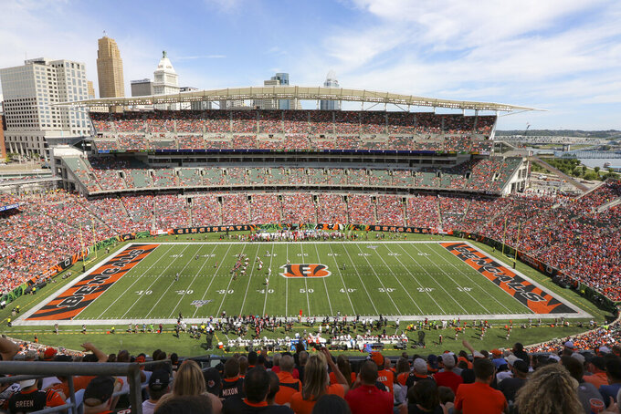 The Cincinnati Bengals play the San Francisco 49ers at Paul Brown Stadium during the first half an NFL football game, Sunday, Sept. 15, 2019, in Cincinnati. (AP Photo/Gary Landers)