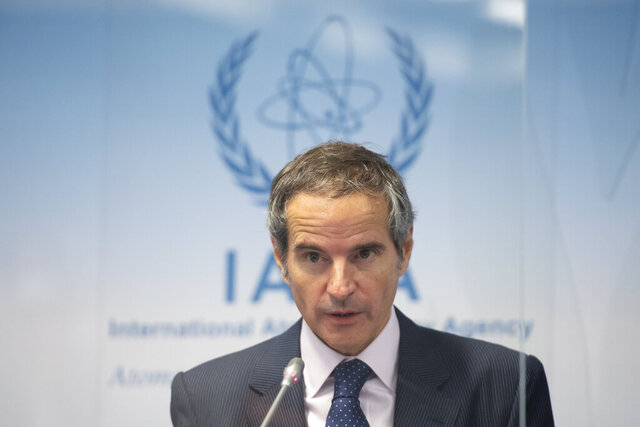 Director General of the International Atomic Energy Agency (IAEA), Rafael Mariano Grossi, speaks during a press conference during an IAEA Board of Governors meeting at the IAEA headquarters of the UN in Vienna, Austria, Nov. 18, 2020. (Christian Bruna/Pool Photo via AP)