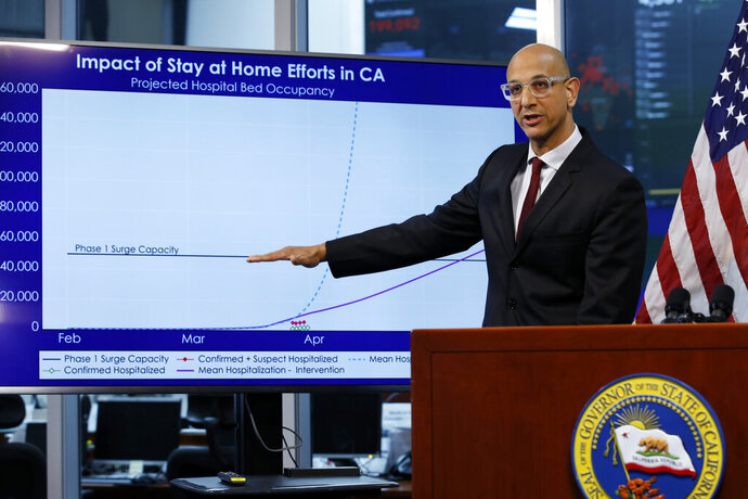 FILE - In this April 1, 2020, file photo Dr. Mark Ghaly, secretary of the California Health and Human Services, gestures to a chart showing the impact of the mandatory stay-at-home orders during a news conference ,at the Governor's Office of Emergency Services in Rancho Cordova, Calif. On Saturday, California will impose another, partial overnight curfew to stem a recent surge in coronavirus cases. Ghaly said that about 12% of the new cases will be hospitalized in coming weeks, and the cumulative increase could soon threaten to swamp the state's healthcare system as it has in other states. The curfew will run from 10 p.m. to 5 a.m. (AP Photo/Rich Pedroncelli, Pool, File)