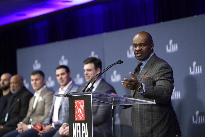 NFL Players Association Executive Director DeMaurice Smith speaks during a news conference at the media center for the NFL Super Bowl 53 football game Thursday, Jan. 31, 2019, in Atlanta. (AP Photo/David J. Phillip)