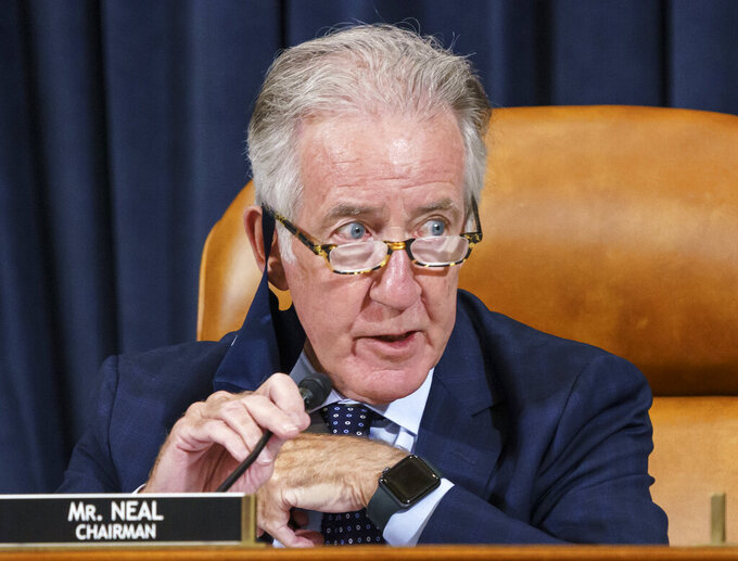In this Sept. 9, 2021 photo, House Ways and Means Committee Chairman Richard Neal, D-Mass., presides over a markup hearing to craft the Democrats' Build Back Better Act, massive legislation that is a cornerstone of President Joe Biden's domestic agenda, at the Capitol in Washington. (AP Photo/J. Scott Applewhite)