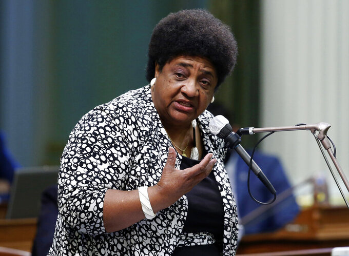FILE - In this June 10, 2020, file photo, Assemblywoman Shirley Weber speaks at the Capitol in Sacramento, Calif. Weber said cocnerns about California's election security are inaccurate. She says the state has the strictest voting system security requirements in the nation. (AP Photo/Rich Pedroncelli, File)