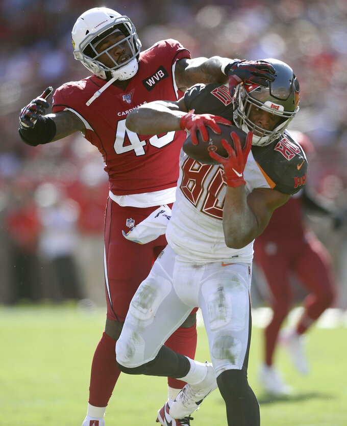 Tampa Bay Buccaneers tight end O.J. Howard (80) beats Arizona Cardinals outside linebacker Haason Reddick (43) on a 10-yard touchdown reception during the first half of an NFL football game Sunday, Nov. 10, 2019, in Tampa, Fla. (AP Photo/Jason Behnken)