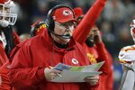 Kansas City Chiefs head coach Andy Reid works on the sideline in the first half of an NFL football game against the New England Patriots, Sunday, Dec. 8, 2019, in Foxborough, Mass. (AP Photo/Steven Senne)
