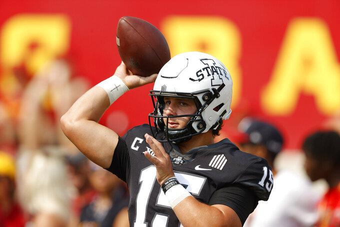 Iowa State quarterback Brock Purdy (15) warms up before an NCAA college football game against Iowa, Saturday, Sept. 11, 2021, in Ames, Iowa. (AP Photo/Matthew Putney)