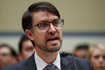 Facebook head of cybersecurity policy Nathaniel Gleicher testifies on Capitol Hill in Washington, Wednesday, May 22, 2019, during the House Oversight and Reform National Security subcommittee hearing on
