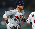 Detroit Tigers' Nicholas Castellanos runs to first base after hitting a single during the fifth inning of the team's baseball game against the Cleveland Indians, Tuesday, July 16, 2019, in Cleveland. (AP Photo/David Dermer)