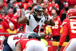 Houston Texans quarterback Deshaun Watson (4) calls a play during the first half of an NFL divisional playoff football game against the Kansas City Chiefs, in Kansas City, Mo., Sunday, Jan. 12, 2020. (AP Photo/Ed Zurga)