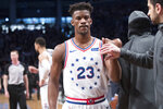 Philadelphia 76ers guard Jimmy Butler (23) leaves the court after being ejected during the second half of Game 4 of a first-round NBA basketball playoff series against the Brooklyn Nets, Saturday, April 20, 2019, in New York. (AP Photo/Mary Altaffer)