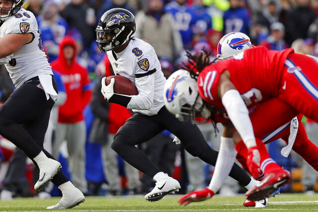 FILE - Baltimore Ravens quarterback Lamar Jackson (8) carries the ball during the first half of an NFL football game against the Buffalo Bills in Orchard Park, N.Y., in this Sunday, Dec. 8, 2019, file photo. The Bills struggles to stop the run when facing teams with dual-threat quarterbacks in Kansas City's Patrick Mahomes and Arizona's Kyler Murray, resulted in two of Buffalo's three losses this season. Now comes the challenge of attempting to contain Lamar Jackson and the Ravens NFL-leading running attack in an AFC divisional round playoff on Saturday. (AP Photo/John Munson, File)