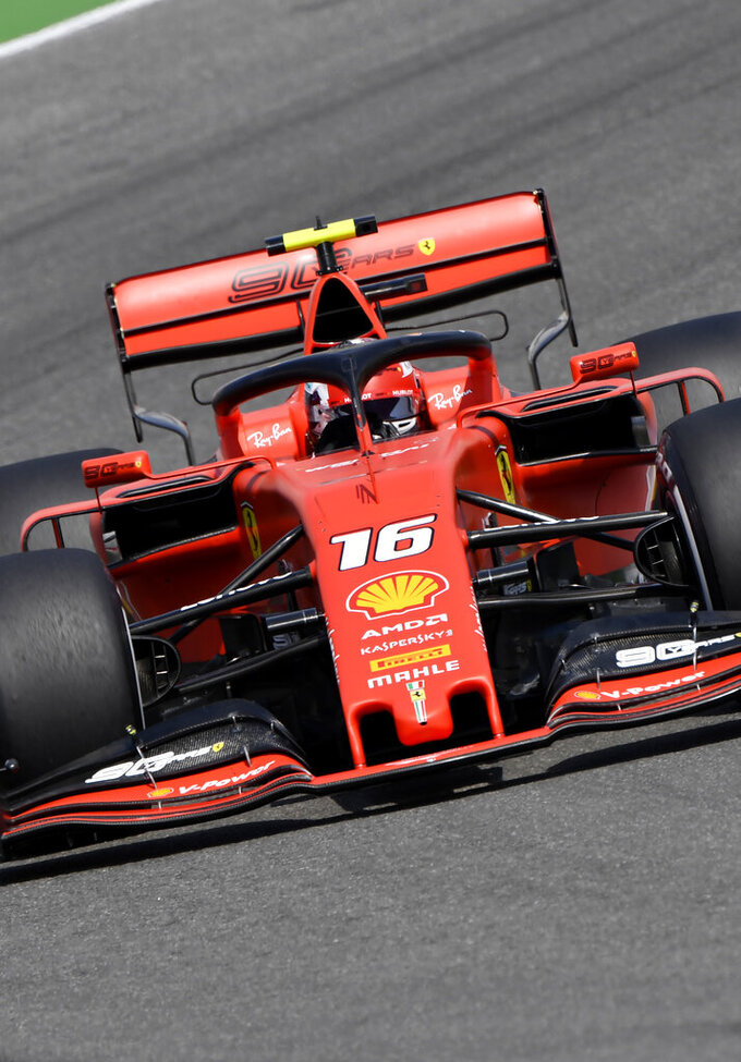 Ferrari driver Charles Leclerc of Monaco steers his car during the second Formula One practice session at the Hockenheimring racetrack in Hockenheim, Germany, Friday, July 26, 2019. The German Formula One Grand Prix will be held on Sunday. (AP Photo/Jens Meyer)