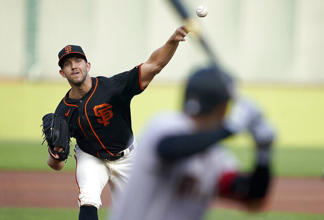 San Francisco Giants starting pitcher Tyler Anderson throws to an Arizona Diamondbacks batter during the first inning of a baseball game in San Francisco, Saturday, Aug. 22, 2020. (AP Photo/Tony Avelar)