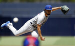 Chicago Cubs starting pitcher Yu Darvish works against a San Diego Padres batter during the first inning of a baseball game Thursday, Sept. 12, 2019, in San Diego. (AP Photo/Gregory Bull)