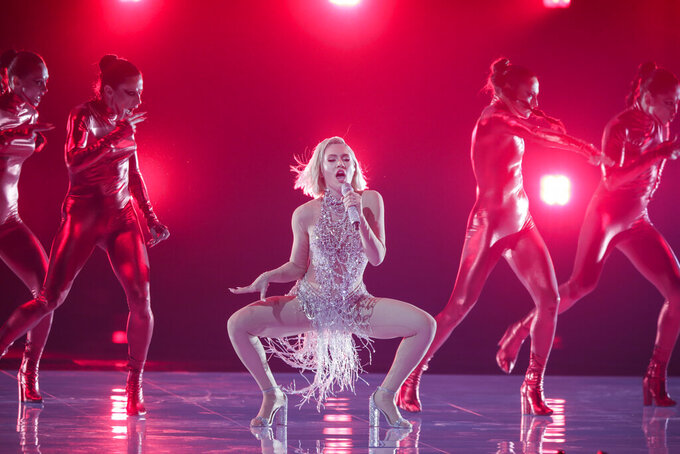 Elena Tsagrinou from Cyprus performs at the first semi-final of the Eurovision Song Contest at Ahoy arena in Rotterdam, Netherlands, Tuesday, May 18, 2021. (AP Photo/Peter Dejong)