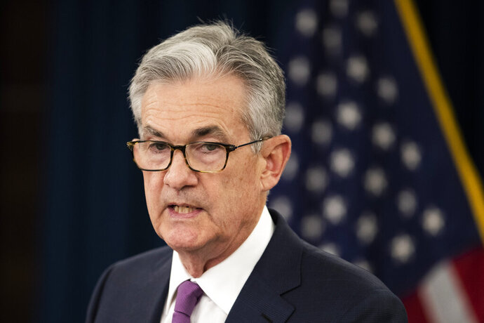 Federal Reserve Chairman Jerome Powell speaks during a news conference following a two-day Federal Open Market Committee meeting in Washington, Wednesday, June 19, 2019. (AP Photo/Manuel Balce Ceneta)