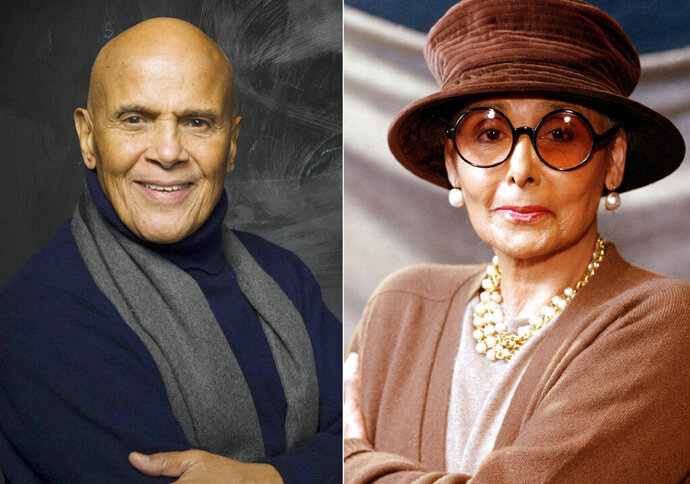 This combination photo shows actor, singer and activist Harry Belafonte during the 2011 Sundance Film Festival in Park City, Utah on Jan. 21, 2011, left, and singer, actress and activist Lena Horne in New York on April 7, 1994. Horne was a fierce advocate for civil rights in her later years, but that part of her legacy is often pushed behind her glamorous image. Her good friend Harry Belafonte hopes that a new award in her honor will push that aspect of her life front and center. The newly created Lena Horne Prize for Artists Creating Social Impact was announced last month. On Friday, it was revealed that Solange Knowles would become the first recipient of the prize, to be awarded in a ceremony at New York's Town Hall on Feb. 28. (AP Photo)