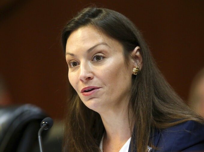 FILE - In this June 4, 2019 file photo, Commissioner of Agriculture Nikki Fried, speaks during a meeting of the Florida cabinet, in Tallahassee, Fla. Fried, the only Democrat currently holding statewide office, has teased a June 1 date to publicly announce whether she will run for Florida governor. (AP Photo/Steve Cannon, File)