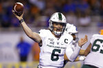 Portland State quarterback Davis Alexander (6) throws a pass against Boise State during the first half of an NCAA college football game Saturday, Sept. 14, 2019, in Boise, Idaho. (AP Photo/Steve Conner)