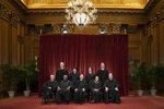 FILE - In this Nov. 30, 2018, file photo, the justices of the U.S. Supreme Court gather for a formal group portrait to include a new Associate Justice, top row, far right, at the Supreme Court Building in Washington. Seated from left: Associate Justice Stephen Breyer, Associate Justice Clarence Thomas, Chief Justice of the United States John G. Roberts, Associate Justice Ruth Bader Ginsburg and Associate Justice Samuel Alito Jr. Standing behind from left: Associate Justice Neil Gorsuch, Associate Justice Sonia Sotomayor, Associate Justice Elena Kagan and Associate Justice Brett M. Kavanaugh. Alabama's virtual ban on abortion is the latest and most far-reaching state law seemingly designed to prod the Supreme Court to reconsider a constitutional right it announced 46 years ago in the landmark Roe v. Wade decision. (AP Photo/J. Scott Applewhite, File)