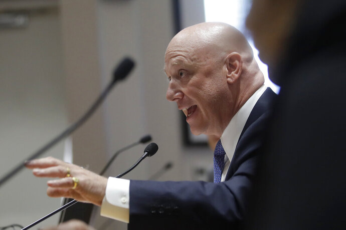 Pacific Gas and Electric Company (PG&E) President and CEO Andy Vesey speaks during a California Public Utilities Commission meeting in San Francisco, Friday, Oct. 18, 2019. (AP Photo/Jeff Chiu)