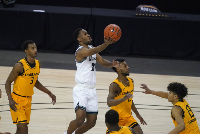 Cleveland State's Yahel Hill (2) puts up a shot during the first half of an NCAA college basketball game in the men's Horizon League conference tournament championship game against Oakland, Tuesday, March 9, 2021, in Indianapolis. (AP Photo/Darron Cummings)