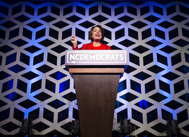 Democratic Presidential Candidate Sen. Amy Klobuchar, D-Minn, speaks at the Blue NC celebration at the Hilton Charlotte University Place in Charlotte, N.C., Saturday, Feb. 29, 2020. (Joshua Komer/The Charlotte Observer via AP)