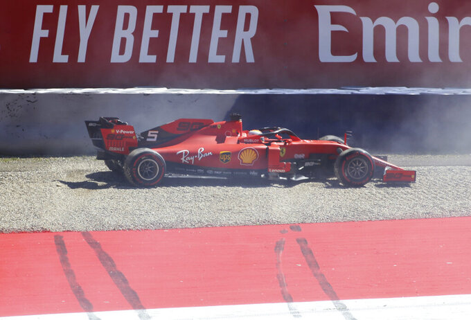 Ferrari driver Sebastian Vettel of Germany goes off the track and on to the gravel during the second free practice session for the Austrian Formula One Grand Prix at the Red Bull Ring racetrack in Spielberg, southern Austria, Friday, June 28, 2019. The race will be held on Sunday. (AP Photo/Ronald Zak)