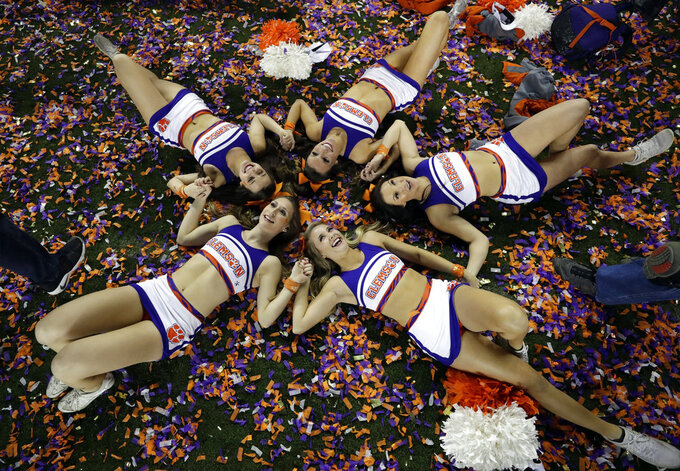 Clemson cheerleaders celebrate after the NCAA college football playoff championship game against Alabama, Monday, Jan. 7, 2019, in Santa Clara, Calif. Clemson beat Alabama 44-16. (AP Photo/Chris Carlson)